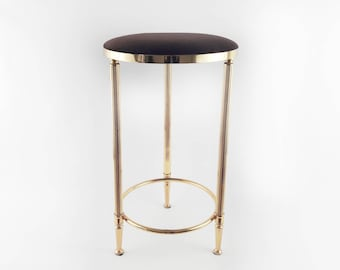 Vintage Stool Made of golden Metal with Brown Corduroy Padded Seat