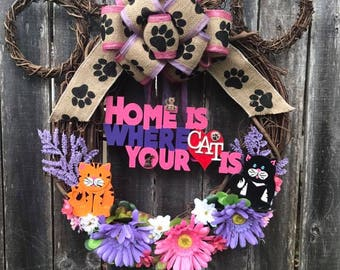 Home is where your cat is wreath