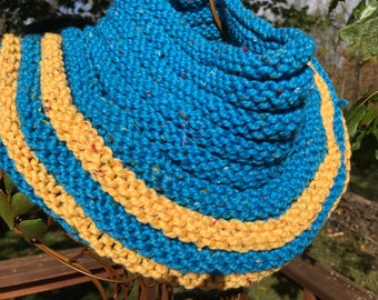 Hand-knit Wool Cowl -- Bright Blue and Gold