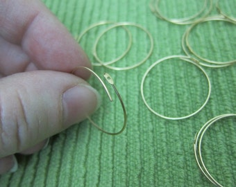 25mm, 14kt Gold Filled, Round Hoop Wine Glass Charms or Earwires - Available in 4, 6, 10 & 20 Pair Pkgs and in Larger Pkgs