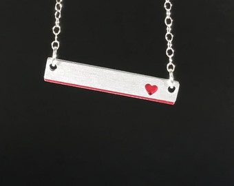 Petite Red Heart Silouette Necklace
