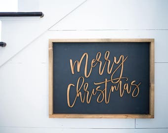 "Merry Christmas 3D Wood Sign 24""x18"""