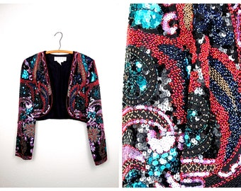 Heavily Beaded Sequined Cropped Jacket // Art Deco Sequin Bolero Large