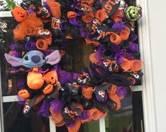 Halloween Disney Trick or Treat Stitch Wreath