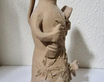 Vintage 1980's Atzompa Oaxaca Mexico Clay Pottery Market Woman