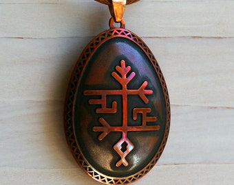 Fire Serpents Egg - Black Copper Pendant