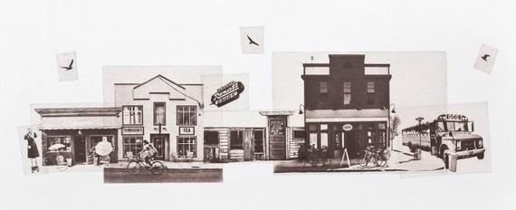 Portland Fine Art - Original Art - Photographic Etching - Art Print - Photography - Oregon - Photo Collage - Photogravure -  Alberta Street