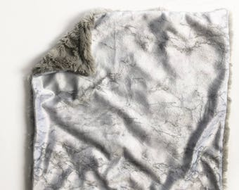 Gray marble lovey security blanket, Baby lovey security Blanket, minky Baby Blanket, Woodland Nursery, Forest Nursery, baby shower gift