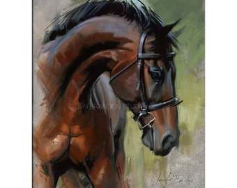 Horse Art - Matted Print of Original Oil Painting, Animal Lovers, Equestrian, Equine Art, Horses, Brown Horse, Riding