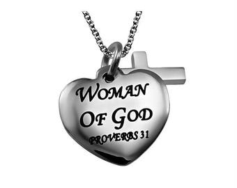 """Sweetheart Necklace """"Woman Of God"""""""