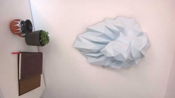 Paper Trophy Lion Head Diy Papercraft