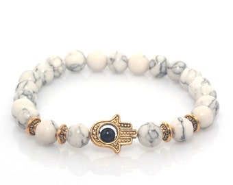 White Hand of Hamsa Marble Lava Stone Bracelet (Gold or Silver Plated)