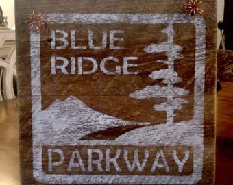 Rustic Barnwood Blue Ridge Parkway, Mountain, Sign