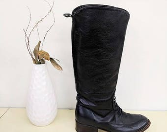 Vintage Tony Mora Tall Equestrian Boots Black Leather Riding Boots Tall Leather Boots  Lace Up Black Leather Knee High Boots Womens Size 38