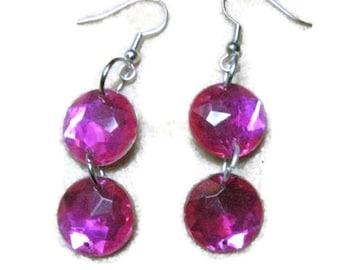 Magenta Rhinestone Acrylic Earrings, Magenta Acrylic Crystal Dangle Earrings