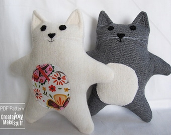 """7.5"""" Cat Sewing Pattern & Tutorial - baby gift, PDF, easy, simple, kitten, cloth, fabric, plushie, softie, doll, stuffed, soft, toy, gift"""