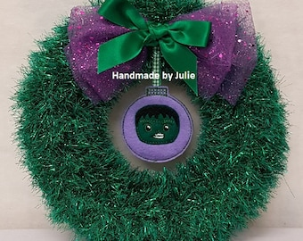 Knitted Tinsel Wreath The Hulk