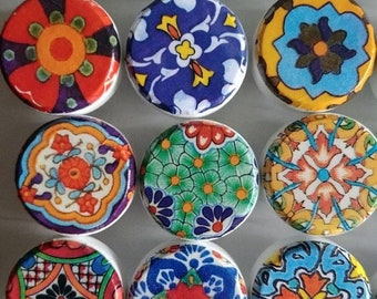 SALE15 15%OFFSALE 8 wooden drawer knobs; Talavera design  hand decorated (decoupaged)1 1/2 inches