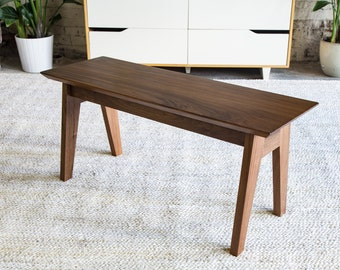 "Modern Bench, Walnut Bench, Dining Table Bench, Wooden Bench, Entryway bench, Furniture, Midcentury Bench, Bench, Stool, ""The Sputnik Bench"""
