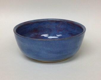 Handmade ceramic bowl, wheel thrown bowl, blue ceramic bowl, ceramic soup bowl, bowl, blue bowl, ceramics