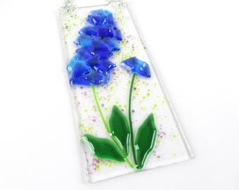 Bluebonnet Wildflower Suncatcher Fused Glass Wall Hanging Texas
