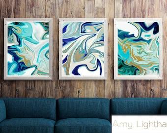 Agate art, Agate slice, Abstract Agate, geode art, geode agate, agate art, picture sets, set of 3, art set, set of 3 prints, cabin art