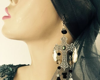 Big cross black and white lace gunmetal crystal extravagant earrings