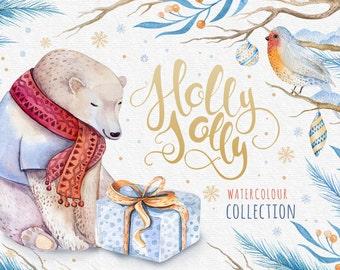 Bear Watercolor Christmas Clipart, merry christmas diy clip art,  new year winter watercolor,holly jolly holidays, christmas digital clipart