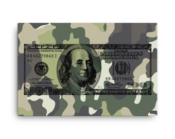 Money Art Dollar Art 100 Dollar Camo Canvas