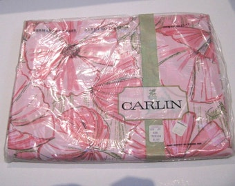 Sale! Vintage Carlin Twin Flat Sheet, Pink Poppies, Original Packaging, Never Used, I.Magnin, Save 5.00