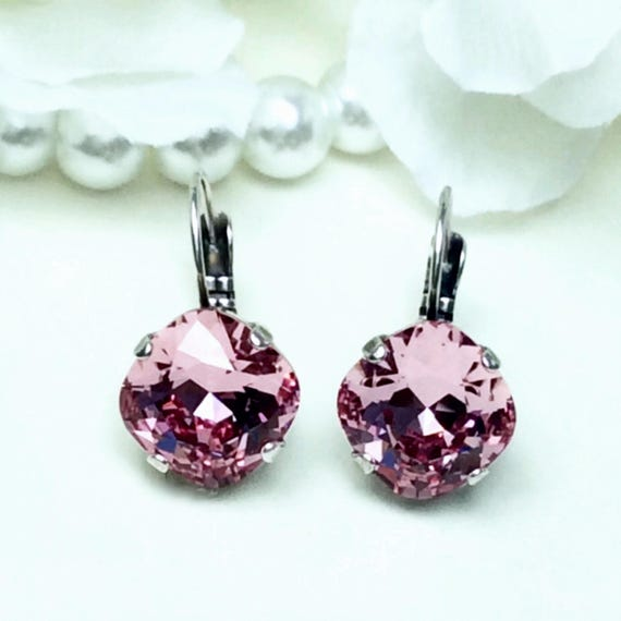 Swarovski Crystal 12MM Cushion Cut, Lever- Back Drop Earrings -  Designer Inspired - Special Edition - Light Rose - FREE SHIPPING