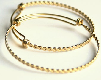 Twisted Gold STAINLESS STEEL expandable bangle bracelet. Vacuum plated, tarnish resistant, long-wearing. For stacking, charm bracelet (WD32)