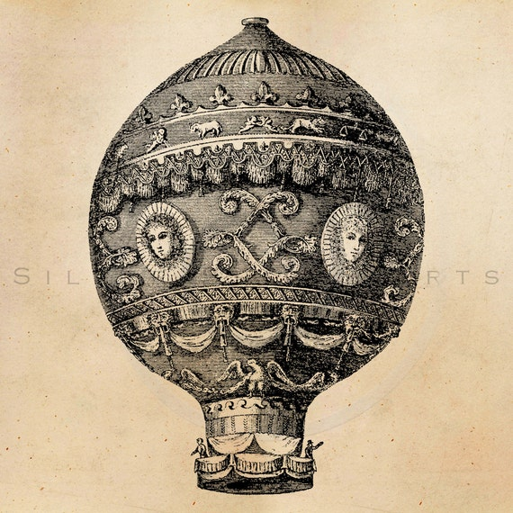 Vintage Hot Air Balloon Illustration Printable 1800s Antique