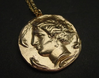 Persephone Greek coin - Necklace