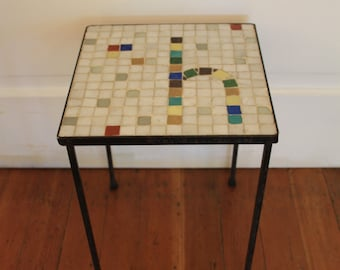 Vintage Tile Top Side Table or Plant Stand