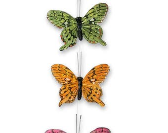 Feather Wings Butterfly Garland - 9  Butterflies Attached to Clear Garland String #3602