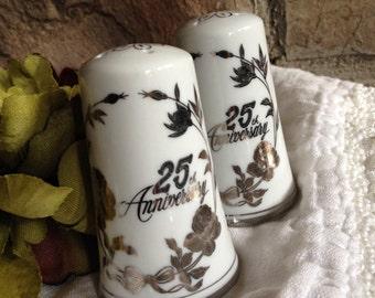 Norcrest 25th Anniversary Salt & Pepper Shakers C-792 Vintage Silver Set - #5303