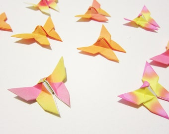 70 Sunset Orange Mini Origami Butterflies