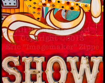 Neon Showboat Las Vegas Sign, Vintage Sign, Neon Art, Red Wall Art, Retro Red Neon Sign, Show, Red Art, Vintage Neon Fine Art Photography