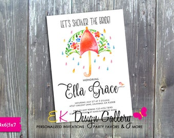 Bridal Shower Invitation, Floral Umbrella Invitation, Bridal Shower Invite, Wedding Shower Invitation, Floral Invitation, Digital Invitation