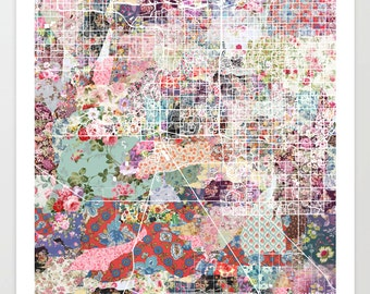 Chandler map AZ | Chandler Painting | Chandler Art Print | Chandler Poster | Arizona map | Flowers compositions