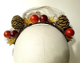 Fir cone, seed pod & faux red berry headband with veiling ~ Festival Woodland ~ Fascinator ~ Quirky Kooky Gothic Alternative Unique LARP