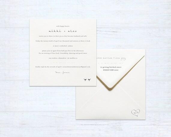 Printing Wedding Invitation Envelopes At Home: Printed Wedding Invitation And Envelope Set Love Birds