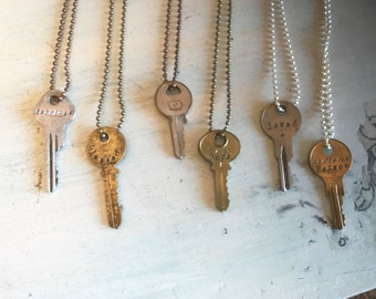 Stamped Key Necklace. Personalized. Re-purposed keys. Vintage Keys. Vintage Necklace. Engraved Key. Hand Stamped.