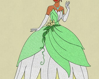 embroidery Tiana Princess Frog design disney 5x7 pes hus jef