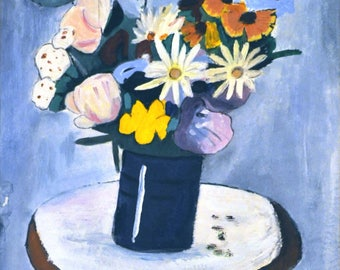 Still Life acrylic on thick paper/painting/Picture/acrylic/flowers in vase/Still Life
