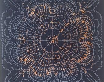 Crochet pattern inspired copperleaf Screenprint