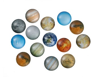 10 pcs Circle Planets Solar System Universe Glass Round Dome Seals Tiles Cabochons - 25mm (1 in)