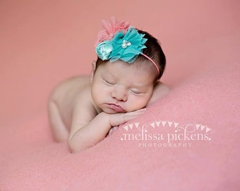 Coral, Turquoise and Aqua headband, coral headbands, newborn headbands, tulle headbands, aqua headbands, photography prop