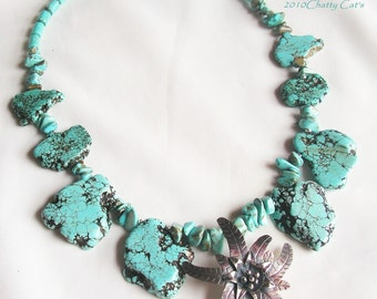Turquoise and Karen Hill Tribe Custom Made Necklace